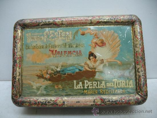 ANTIQUÍSIMA CAJA METÁLICA 1909 - LA PERLA DEL TURIA, VALENCIA, ELABORACIÓN DE ARROCES ABRILLANTADOS (Coleccionismo - Cajas y Cajitas Metálicas)