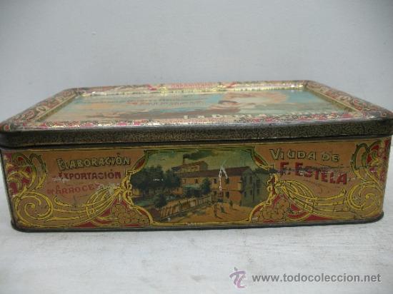 Cajas y cajitas metálicas: Antiquísima caja metálica 1909 - La perla del Turia, Valencia, elaboración de arroces abrillantados - Foto 2 - 32655102
