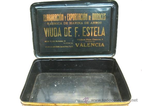 Cajas y cajitas metálicas: Antiquísima caja metálica 1909 - La perla del Turia, Valencia, elaboración de arroces abrillantados - Foto 4 - 32655102