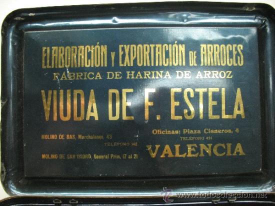 Cajas y cajitas metálicas: Antiquísima caja metálica 1909 - La perla del Turia, Valencia, elaboración de arroces abrillantados - Foto 5 - 32655102