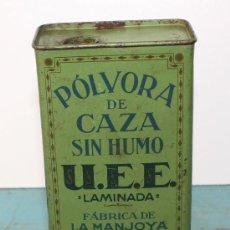 Cajas y cajitas metálicas: ANTIGUA CAJA DE HOJA LATA DE PUBLICIDAD DE UNION ESPAÑOLA DE EXPLOSIVOS - MADRID - U.E.E. - POLVORA . Lote 32757535