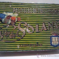 Cajas y cajitas metálicas - Caja de lata, pastillas de café y leche. Viuda. de Solano, Logroño. - 33624131