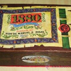 Cajas y cajitas metálicas: - ANTIGUA CAJA DE TURRONES 1880 HIJO DE MANUEL S. SOLER EN CARTON MEDIDAS: 17,5/10,5/6,. Lote 34018176
