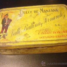 Cajas y cajitas metálicas: VALLE BALLINA Y FERNANDEZ EL GAITERO DULCE DE MANZANA VILLAVICIOSA CAJA METAL. Lote 34195157