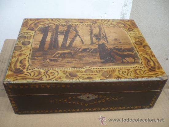 Antigua caja madera costurero bueno estado 20 comprar - Caja madera antigua ...