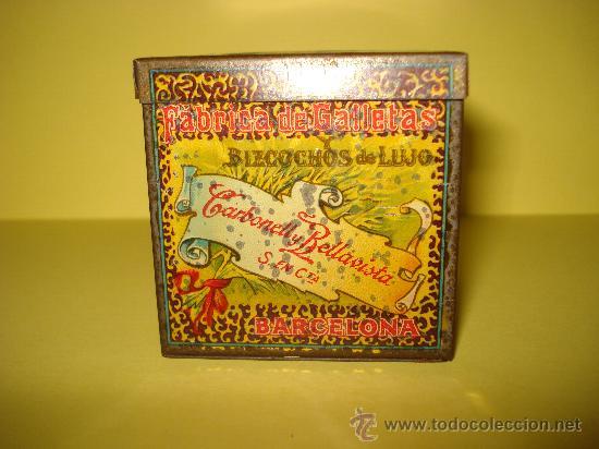 Cajas y cajitas metálicas: Antigua Caja en Hojalata Litografiada de *LA GLORIA* Bizcochos y Galletas Barcelona - Año 1920s. - Foto 5 - 34473933