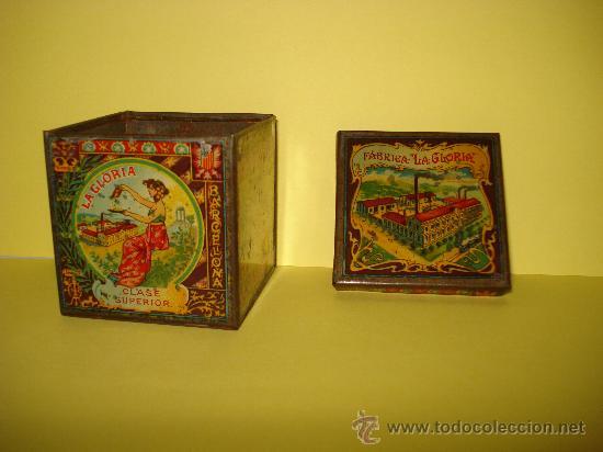 Cajas y cajitas metálicas: Antigua Caja en Hojalata Litografiada de *LA GLORIA* Bizcochos y Galletas Barcelona - Año 1920s. - Foto 2 - 34473933