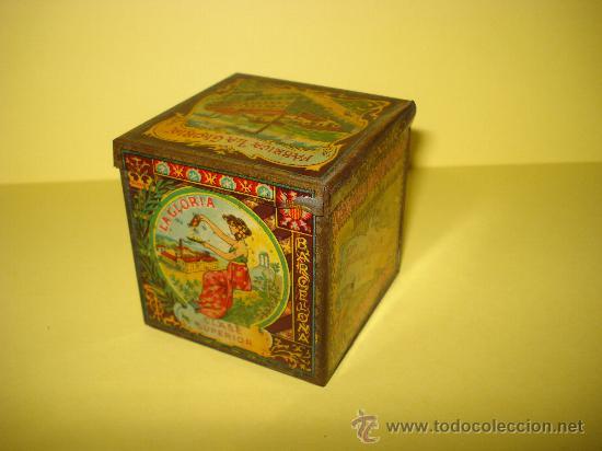 ANTIGUA CAJA EN HOJALATA LITOGRAFIADA DE *LA GLORIA* BIZCOCHOS Y GALLETAS BARCELONA - AÑO 1920S. (Coleccionismo - Cajas y Cajitas Metálicas)