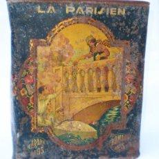 Cajas y cajitas metálicas: LATA *LA PARISIEN* CARAMELOS Y BOMBONES, DE ALFREDO GONZALEZ, MURCIA, AÑOS 30, MED. 24 X 15 X 28 CM.. Lote 34643040