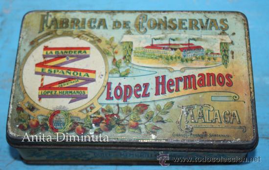 ANTIGUO CAJA DE LOPEZ HERMANOS - FABRICA DE CONSERVAS - DULCE DE MEMBRILLO - BANDERA DE LA REPUBLICA (Coleccionismo - Cajas y Cajitas Metálicas)