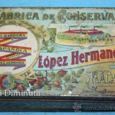 Cajas y cajitas metálicas: ANTIGUO CAJA DE LOPEZ HERMANOS - FABRICA DE CONSERVAS - DULCE DE MEMBRILLO - BANDERA DE LA REPUBLICA. Lote 35053001