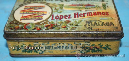 Cajas y cajitas metálicas: ANTIGUO CAJA DE LOPEZ HERMANOS - FABRICA DE CONSERVAS - DULCE DE MEMBRILLO - BANDERA DE LA REPUBLICA - Foto 2 - 35053001