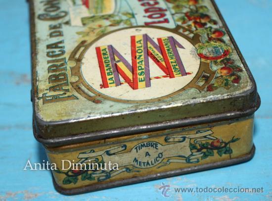 Cajas y cajitas metálicas: ANTIGUO CAJA DE LOPEZ HERMANOS - FABRICA DE CONSERVAS - DULCE DE MEMBRILLO - BANDERA DE LA REPUBLICA - Foto 3 - 35053001