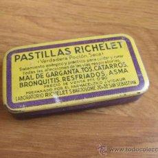 Cajas y cajitas metálicas: CAJA DE LATA DE FARMACIA DE PASTILLAS RICHELET. Lote 58372994