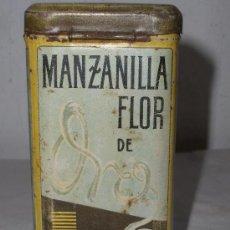 Cajas y cajitas metálicas: CAJA METALICA MANZANILLA FLOR DE ORO LEON. Lote 35290718