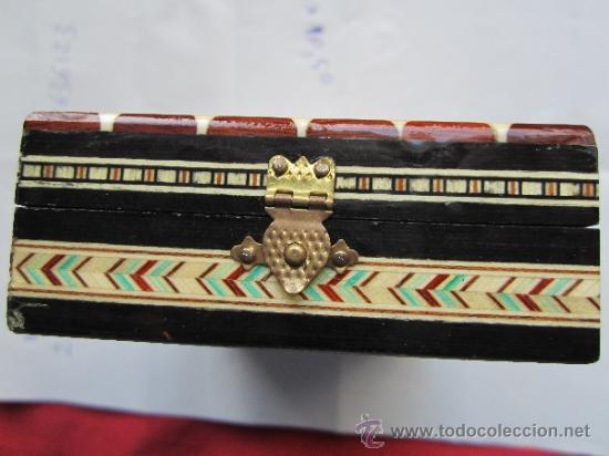 Cajas y cajitas metálicas: caja de marqueteria para cartas , baraja española , buena conservacion - Foto 4 - 35279734