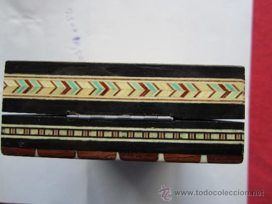 Cajas y cajitas metálicas: caja de marqueteria para cartas , baraja española , buena conservacion - Foto 6 - 35279734