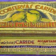 Cajas y cajitas metálicas: CAJA METALICA DULCE DE MEMBRILLO CONSERVAS CARIDE - ALCANTARILLA (MURCIA) AÑOS 50. Lote 35914294