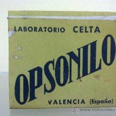 Cajas y cajitas metálicas: CAJA DE MUESTRA DE MEDICAMENTO OPSONILO - LABORATORIO CELTA. Lote 36088247