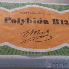 Cajas y cajitas metálicas: ANTIGUA CAJA CARTON FARMACIA POLYBION AMPOLLAS B 12 MEDICAMENTO. Lote 36088369