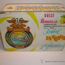 Cajas y cajitas metálicas: CAJA DE CHAPA MEMBRILLO ESTRADA PUENTE GENIL. Lote 36370149