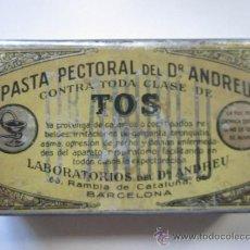 Cajas y cajitas metálicas: CAJA LATA PASTA PECTORAL DR ANDREU BARCELONA. Lote 37026227