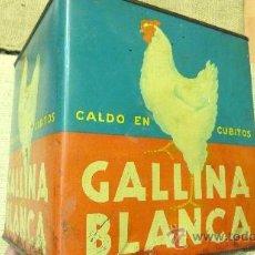 Cajas y cajitas metálicas: CAJA METALICA GALLINA BLANCA. Lote 37082938