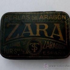 Cajas y cajitas metálicas: CAJA METÁLICA ANTIGUA - EXTRACTO DE REGALIZ PERLAS DE ARAGON - ZARA (ZARAGOZA). Lote 37592191