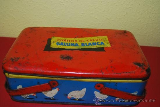 Cajas y cajitas metálicas: LATA LITOGRAFIADA CON ASAS - CUBITOS DE CALDO GALLINA BLANCA - G. DE ANDREIS, BADALONA - AÑOS 50 - Foto 4 - 37617755