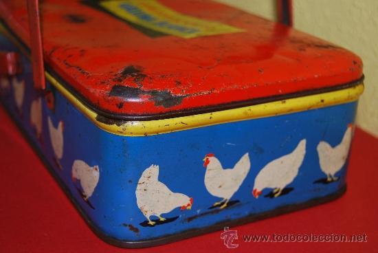 Cajas y cajitas metálicas: LATA LITOGRAFIADA CON ASAS - CUBITOS DE CALDO GALLINA BLANCA - G. DE ANDREIS, BADALONA - AÑOS 50 - Foto 7 - 37617755