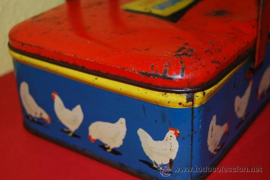 Cajas y cajitas metálicas: LATA LITOGRAFIADA CON ASAS - CUBITOS DE CALDO GALLINA BLANCA - G. DE ANDREIS, BADALONA - AÑOS 50 - Foto 8 - 37617755