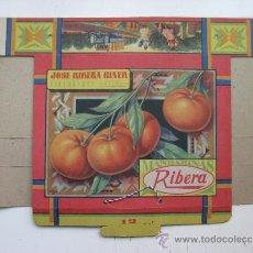Cajas y cajitas metálicas: ANTIGUA CAJA CARTON PUBLICIDAD - MANDARINAS RIBERA, CARCAGENTE, VALENCIA - JOSE RIBERA GINER. Lote 116436930