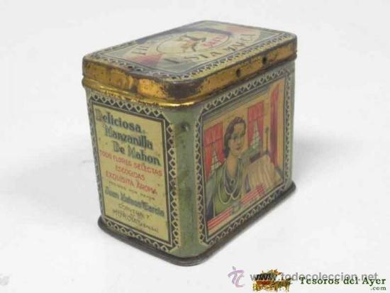 Cajas y cajitas metálicas: ANTIGUA CAJA DE HOJALATA LITOGRAFIADA CON PUBLICIDAD DE MANZANILLA SALTA - MURCIA - MIDE 7,2 X 5,5 C - Foto 3 - 38270945