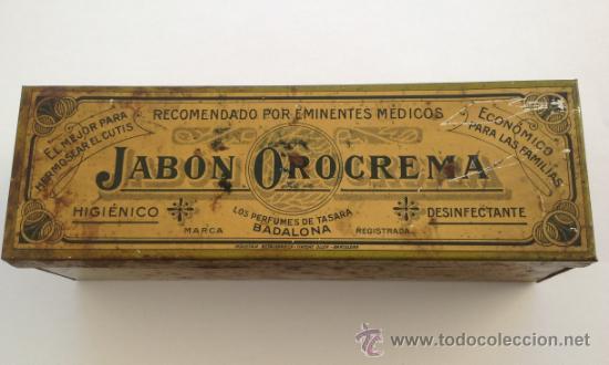 CAJA METALICA JABON OROCREMA RARO MODELO !!!!! PERFUMES DE TASARA BADALONA (Coleccionismo - Cajas y Cajitas Metálicas)