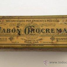 Cajas y cajitas metálicas: CAJA METALICA JABON OROCREMA RARO MODELO !!!!! PERFUMES DE TASARA BADALONA . Lote 38492047