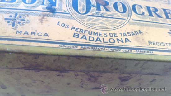 Cajas y cajitas metálicas: CAJA METALICA JABON OROCREMA RARO MODELO !!!!! PERFUMES DE TASARA BADALONA - Foto 2 - 38492047
