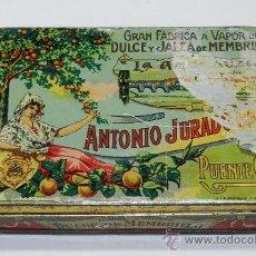 Cajas y cajitas metálicas: ANTIGUA CAJA DE HOJALATA LITOGRAFIADA DE MENBRILLO LA ANDALUZA . ANTONIO JURADO GALVEZ. GRAN FABRICA. Lote 38900165