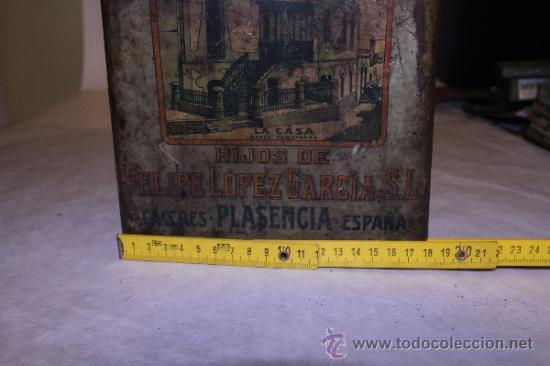Cajas y cajitas metálicas: Lata de pimenton. Hijos de Felipe Lopez Garcia. 26x18 Caceres. Ver fotos - Foto 2 - 39128189