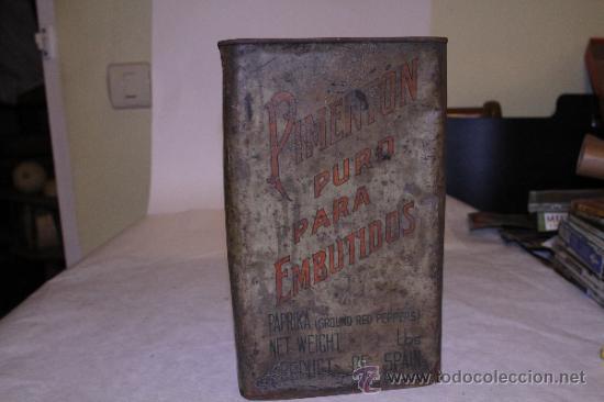 Cajas y cajitas metálicas: Lata de pimenton. Hijos de Felipe Lopez Garcia. 26x18 Caceres. Ver fotos - Foto 3 - 39128189