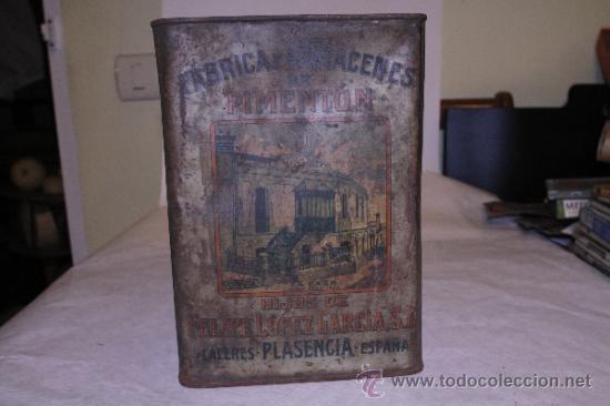 Cajas y cajitas metálicas: Lata de pimenton. Hijos de Felipe Lopez Garcia. 26x18 Caceres. Ver fotos - Foto 4 - 39128189