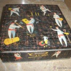 Cajas y cajitas metálicas: CAJA METALICA BOMBONES GOYA VITORIA CON LITOGRAFIAS DEPORTES VASCOS. Lote 39424942