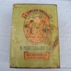 Cajas y cajitas metálicas: ANTIGUA CAJA DE CHAPA LITOGRAFIADA, LOS CHICUELOS. LA ESPECIERA MONTEAGUDO. ALCANTARILLA. MURCIA. Lote 39644775
