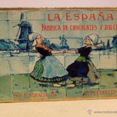 Cajas y cajitas metálicas: ANTIGUA CAJA DE HOJALATA LITOGRAFIADA CON PUBLICIDAD DE LA ESPAÑA - CHOCOLATES Y DULCES. Lote 39779889
