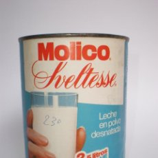 Cajas y cajitas metálicas: BOTE *MOLICO* SVELTESSE, 250 GR. LECHE EN POLVO DESNATADA -MOD.1- CADUCIDAD ABRIL 89, NESTLÉ. Lote 129101336