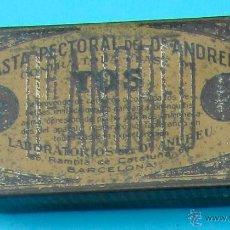 Cajas y cajitas metálicas: PASTA PECTORAL DEL DR. ANDREU CONTRA TODA CLASE DE TOS. CAJA METALICA. Lote 40063258