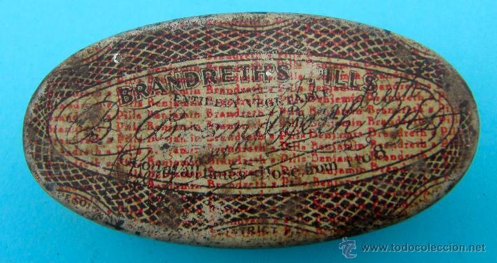 BRANDRETH'S PILLS. REVERSO EN CASTELLANO. CAJA METALICA (Coleccionismo - Cajas y Cajitas Metálicas)