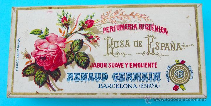 ROSA DE ESPAÑA. JABON SUAVE Y EMOLIENTE. RENAUD GERMAIN. BARCELONA. CAJA DE CARTON (Coleccionismo - Cajas y Cajitas Metálicas)