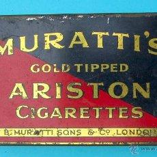 Cajas y cajitas metálicas: MURATTI'S GOLD TIPPED ARISTON CIGARETTES. LONDON. CAJA METALICA. Lote 40202785