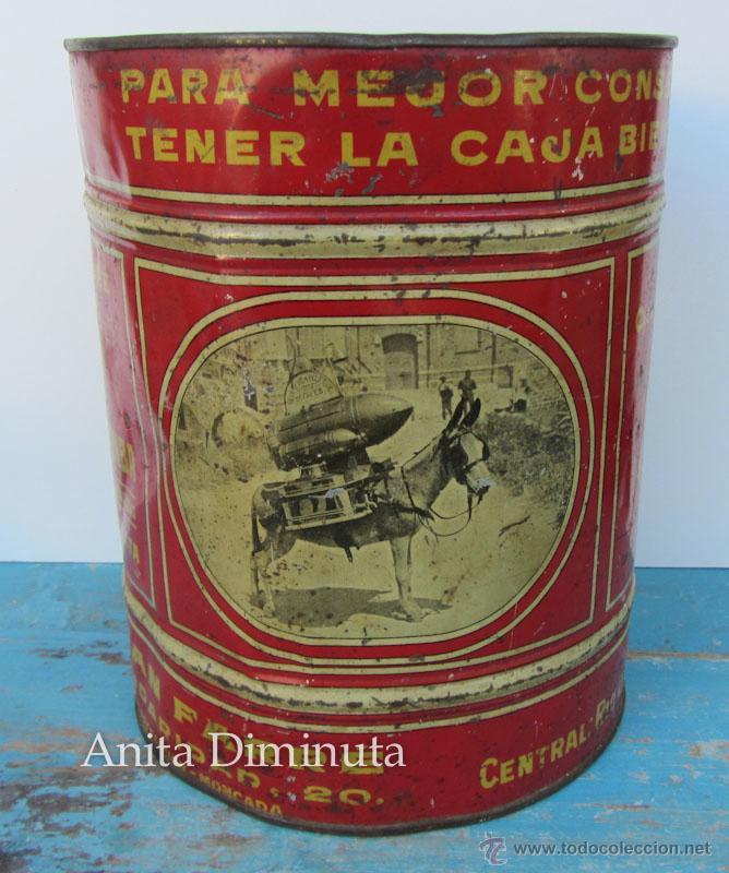 ANTIGUA Y RARISIMA CAJA DE CAFES - JUAN FARRE - SAN ANDRES BARCELONA - CASA HOMOTOMBA - TORREFACCION (Coleccionismo - Cajas y Cajitas Metálicas)