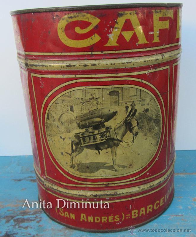 Cajas y cajitas metálicas: ANTIGUA Y RARISIMA CAJA DE CAFES - JUAN FARRE - SAN ANDRES BARCELONA - CASA HOMOTOMBA - TORREFACCION - Foto 3 - 40183657